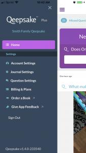 Qeepsake app screenshot