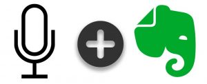 iOS dictation microphone logo and Evernote logo